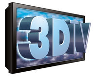 3D TV of 3DTV Televisie stock illustratie