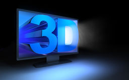 3d tv in the dark. Symbol TV 3d in the dark (done in 3d Royalty Free Stock Photography