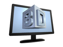 3d tv, isolated over white. 3d television screen, isolated with clipping path Royalty Free Stock Image