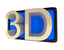 3d TV isolated on white. Illustration Stock Photography