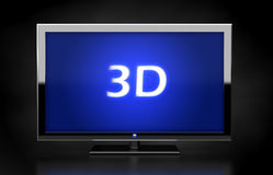 3D TV LED screen. Flat HDTV screen with 3d text Royalty Free Stock Photos