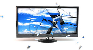 3D TV Monitor broken. On white background Royalty Free Stock Photo