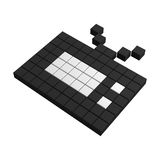 3d tv pixel icon. Black and white illustration Stock Photo