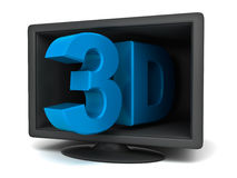 3d tv technology concept. On white background Royalty Free Stock Photos