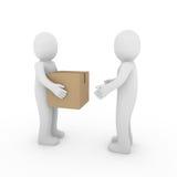 3d twee menselijke pakket verschepende doos Stock Fotografie