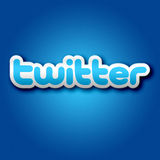 3D Twitter Sign On Blue Background Royalty Free Stock Photos