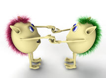 3d two character puppets holding each other Stock Images