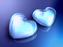 3d two crystal heart on the blue background Royalty Free Stock Photography