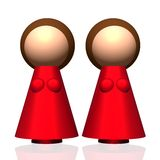 3D Two-mum Family Icon Stock Photography