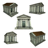 3d typical Greek Roman temple on white Royalty Free Stock Images