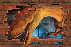3D  Tyrannosaurus. 3D Tyrannosaurus breaks a wall Stock Photography