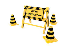 3D Under construction barricade. 3D Under construction warning sign with white background Stock Images