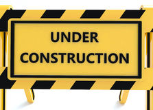 3D Under construction barricade. 3D Under construction warning sign with white background Royalty Free Stock Photography
