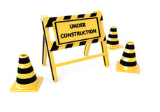 3D Under construction barricade Royalty Free Stock Photography