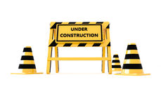 3D Under construction barricade Stock Image