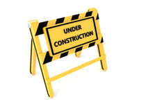 3D Under construction barricade. 3D Under construction warning sign with white background Stock Photography