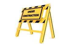 3D Under construction barricade. 3D Under construction warning sign with white background Stock Photo