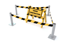 3D Under construction barricade Royalty Free Stock Photos
