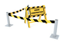 3D Under construction barricade. 3D Under construction warning sign with white background Stock Image