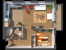 3D unterteilte Wohnung lizenzfreie abbildung