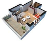 3D unterteilte Wohnung mit Ausschnittspfad Lizenzfreie Stockfotos