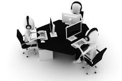 3d uomo, call center, isolata su bianco Fotografie Stock Libere da Diritti