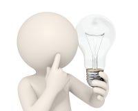 3d uomo - idea della lampadina Immagine Stock