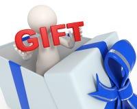 3d uomo in un contenitore di regalo - testo rosso del regalo Fotografie Stock Libere da Diritti