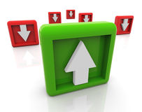 3d up and down arrows. 3d concept of up and down trend in business, sale etc Stock Images