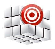 3d uppsätta som mål kuben Arkivbilder