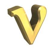 3D Upsilon symbol in gold Royalty Free Stock Image