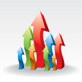 3d upward arrow. Abstract colorful business concept by arrow Stock Images