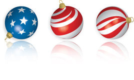 3D US Flag Christmas Bulbs with Reflection. 3D illustration of three American Flag-themed Christmas Bulbs with reflection on white background stock illustration