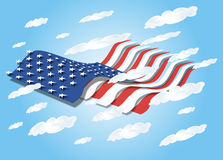 3D US Flag Waving in the Sky Stock Photos