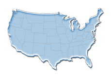 3D US Map. Stylized 3D map of the United States Royalty Free Stock Image