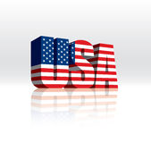 3D USA (American) Vector Word Text Flag. Digitally rendered 3D flag of USA word. This image has a gradient fill background, with solid fills in the foreground royalty free illustration