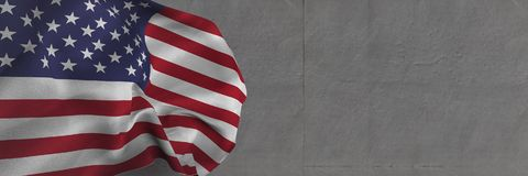 Free 3D USA Flag Against Grey Background Royalty Free Stock Photography - 97790337