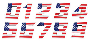 3d USA flag collection - number. On white Stock Image