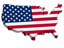3D USA Karte mit US-Markierungsfahne Stockfotos