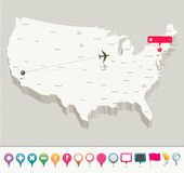 3D USA Map with Pins Royalty Free Stock Photos