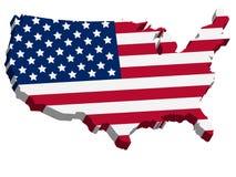 3D USA Map With US Flag Stock Photos
