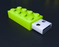 3D usb lego flash device Royalty Free Stock Photo