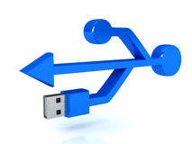 3d usb symbol over white Stock Images