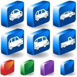 3d ustawiający guzików samochody Obraz Stock