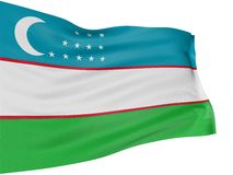3D Uzbek flag. With fabric surface texture. White background Stock Images