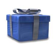 3d v2被包裹的蓝色礼品 免版税库存照片