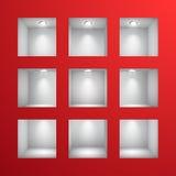 3d vacian los estantes para el objeto expuesto en la pared Fotos de archivo