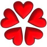 3D valentijnskaartharten Stock Fotografie