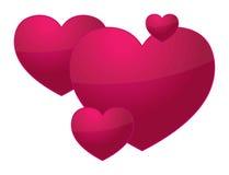 3D Valentine hearts Stock Photos