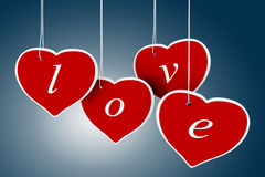 3d valentine's day hearts. On blue background Royalty Free Stock Photo